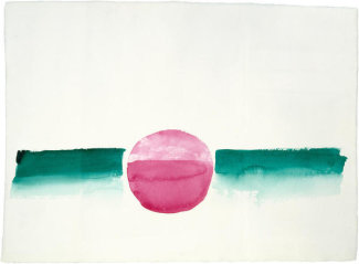 Georgia O'Keeffe - Untitled (Abstraction Green Line and Red Circle), 1970s
