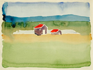 Georgia O'Keeffe - Untitled (Houses and Landscape), 1916